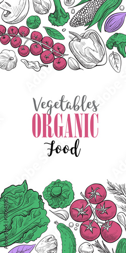 Poster Positive Typography Fresh vegetables background with space for text, hand drawn or engraved, vintage, retro looking plants, vegetarian and healthy food