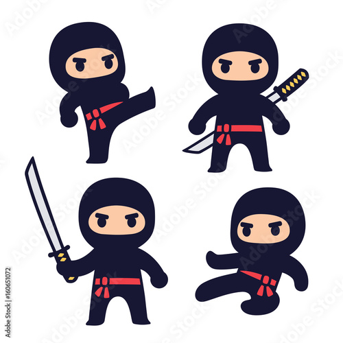 Cute cartoon ninja set - 160651072
