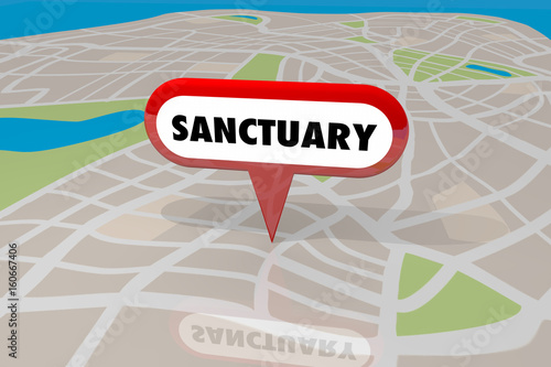 Sanctuary City Safety Security Location Map 3d Illustration Canvas-taulu