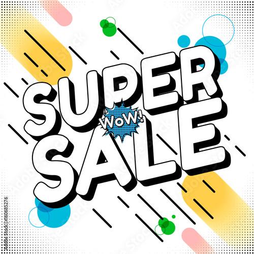 Staande foto Retro sign Sale comic text. Art cartoon design. Style retro. Super sale template. Sale and discounts. Vector illustration.