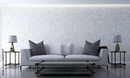 Fototapety, obrazy: The modern loft beach lounge and living room  design interior