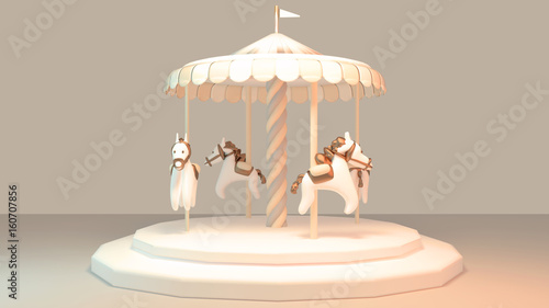 Deurstickers Muziekwinkel Carousel with horses. Cute merry-go-round object. Concept of childhood memory. 3d render picture.