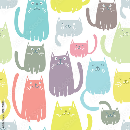 obraz PCV Cats seamless vector pattern