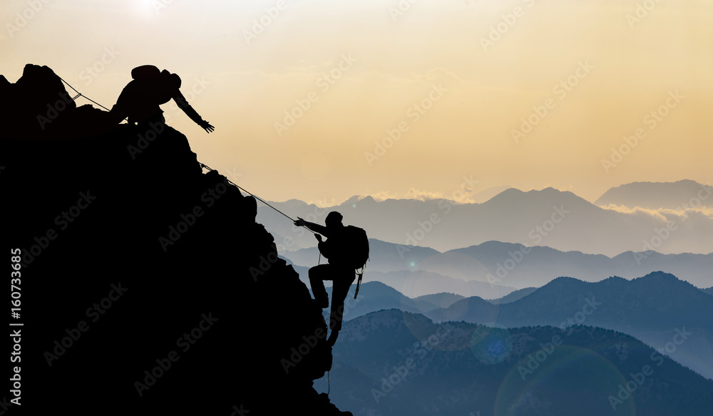 Fototapety, obrazy: mountain range and peak climbing in the mountains
