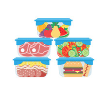 Plastic Containers With Food M...