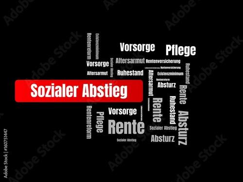 Sozialer Abstieg - Bilder mit Wörtern aus dem Bereich Altersarmut, Wortwolke, Wü Wallpaper Mural