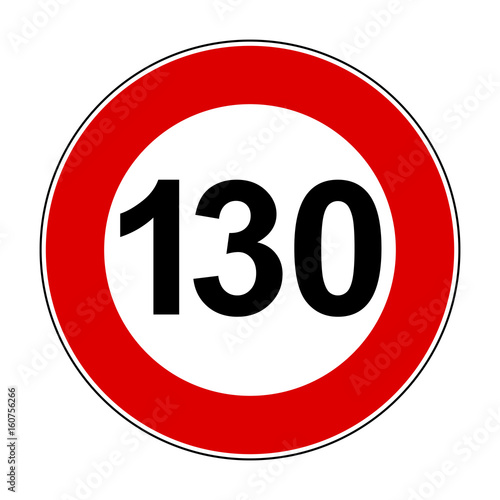 Fotografia  Speed limit signs of 130 km - stock vector