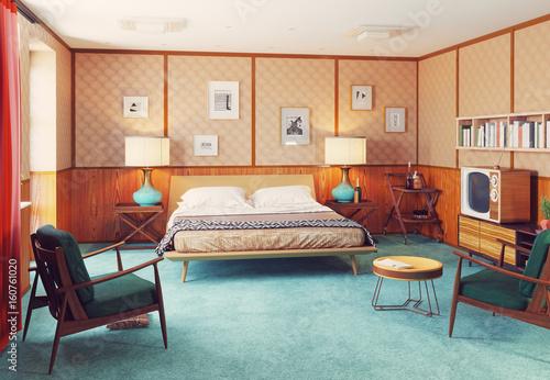 Photographie  retro interior. 3d render