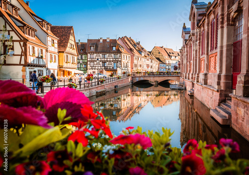 Beautiful town of Colmar in Alsace province of France on a summer sunny day