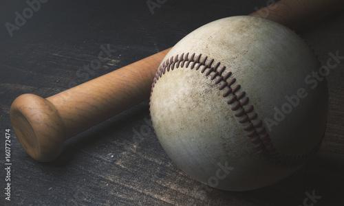 Plakat Baseball i nietoperz na drewnianej powierzchni