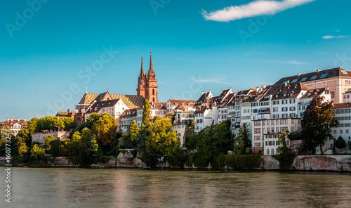 Beautiful panoramic view of Basel city in Switzerland Wallpaper Mural