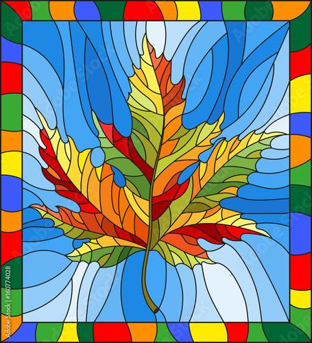 ilustracja-w-stylu-witrazu-z-jesien-lisc-klonu-na-niebieskim-tle-w