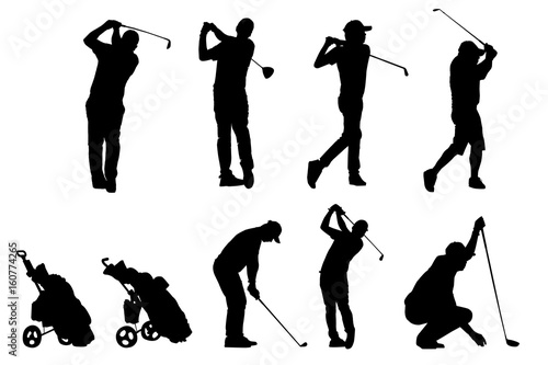 Deurstickers Golf Golf players and equipment silhouettes