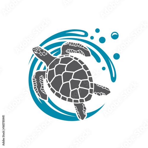 Fototapeta premium ikona żółwia morskiego z falą wody