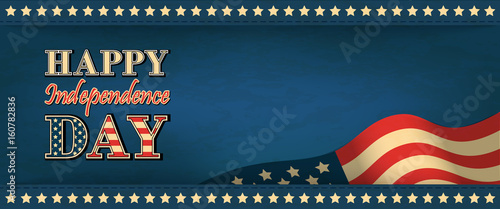 Fotografia  Horizontal web banner on the Independence Day of the USA in vintage style