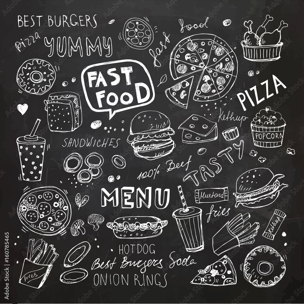 Fototapety, obrazy: Fast food doodles. Hand drawn vector symbols and objects
