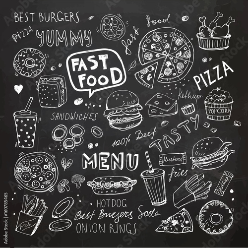 Fast food doodles. Hand drawn vector symbols and objects Poster