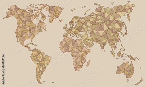 In de dag Retro Weltkarte als Kunst in Dreiecken - Transparent