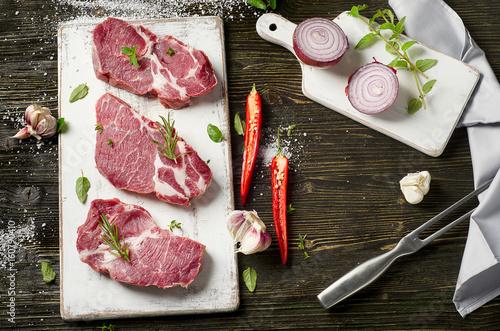 Fototapeta Raw pork steaks obraz na płótnie