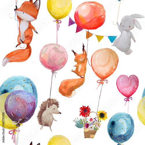 Fényképezés  seamless pattern with animals with balloons