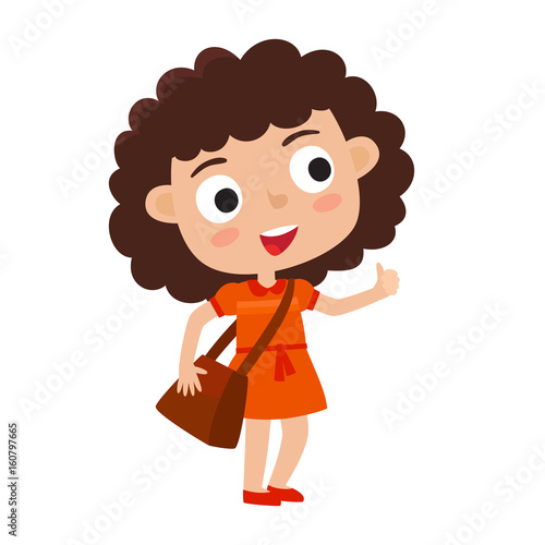 Foto op Aluminium Hoogte schaal Color vector illustration of pretty stylish curly girl stand wit