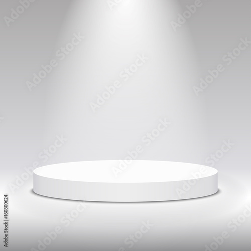 Fotografie, Obraz  Round white stage podium illuminated with light