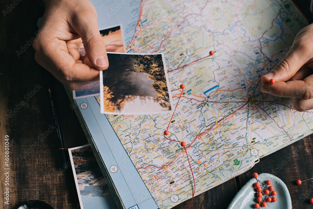 Fototapety, obrazy: planning trip with map