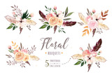 Fototapeta Kwiaty - Hand drawing isolated boho watercolor floral illustration with leaves, branches, flowers. Bohemian greenery art in vintage style. Elements for wedding card.