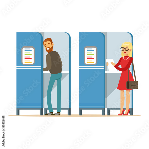 Valokuva  Man and woman in voting booths casting their ballots vector Illustration