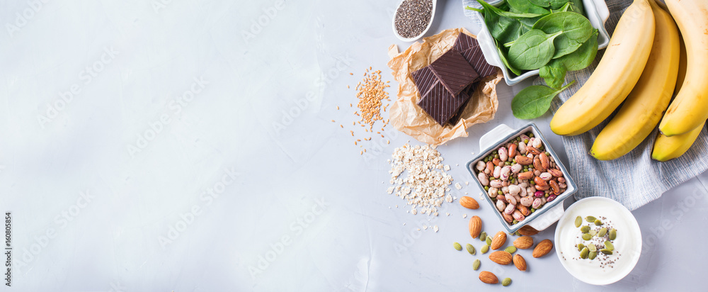 Fototapety, obrazy: Assortment of healthy high magnesium sources food