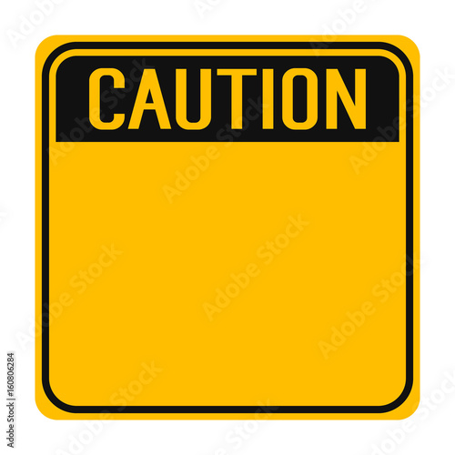 Photo Yellow caution sign