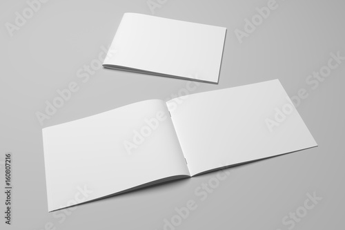 Staande foto Bleke violet Blank 3D rendering brochure magazine on gray with clipping path No. 6