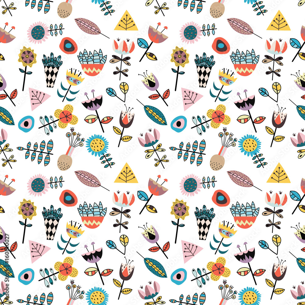 Seamless pattern with scandinavian style figures, cute flowers and leaves.