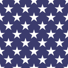 Seamless Pattern Of White Five-pointed Stars On Blue Background. Vector Illustration.