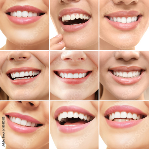 Collage of smiling women, closeup #160810812