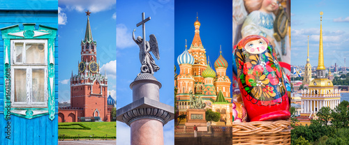Russia, panoramic photo collage, Russia Saint Petersburg, Moscow landmarks trave Canvas Print
