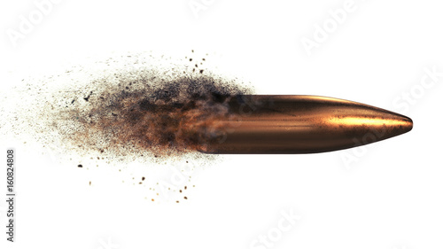 Canvas Flying bullet with a dust trail on a white isolated background