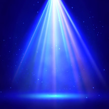 Stage Illumination With Spotlights. Festive Scene With Bright Solar Flash. Blue Deep Sea With Sunshine Rays And Beam. Underwater Scene With Glowing Flare. Abstract Shiny Background With Light Effects.