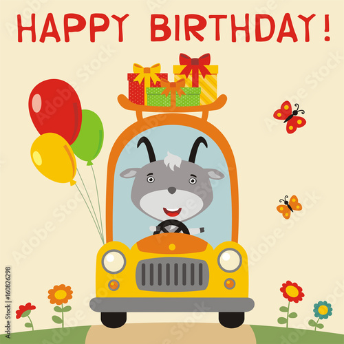 Happy Birthday Funny Goat Rides In Car With Gifts And Balloons Card