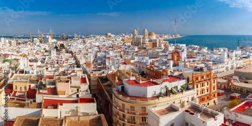 Aerial panoramic view of the old city rooftops and Cathedral de Santa Cruz in th Fotobehang