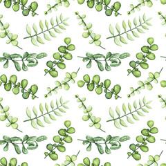 FototapetaHerbal Seamless Pattern of Watercolor Green Leaves