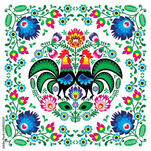 Obraz Polish floral folk art square pattern with rooster - wzory lowickie, wycinanki - fototapety do salonu