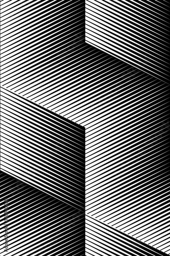 Okleiny na drzwi - Złudzenie optyczne  vector-op-art-pattern-optical-cube-illusion-abstract-background