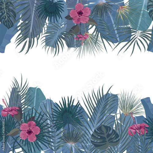 hand drawn tropical palm leaves and jungle exotic flower holiday