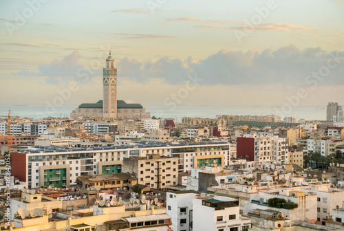 Foto View over the city of Casablanca.