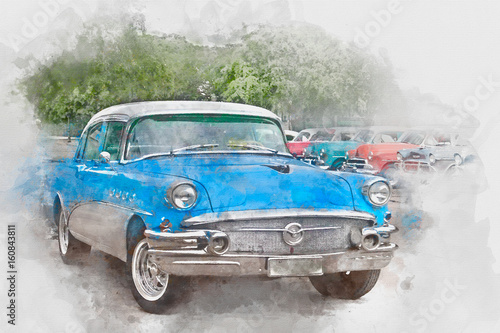 niebieski-stary-samochod-na-kubie-akwarela