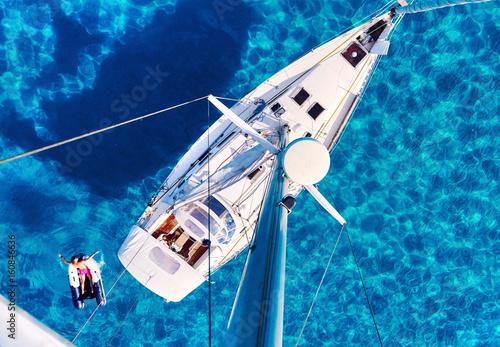 Valokuva  Yacht and clear Mediterranean sea. Ibiza, Spain