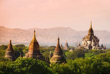 Myanmar Sunset Pagan Bagan Burma Shadows