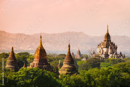 myanmar sunset pagan bagan burma shadows Wallpaper Mural
