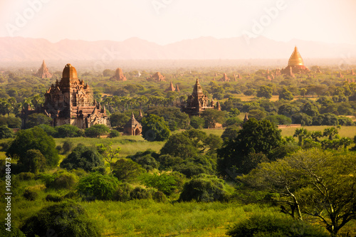 myanmar sunset pagan bagan burma shadows Canvas Print